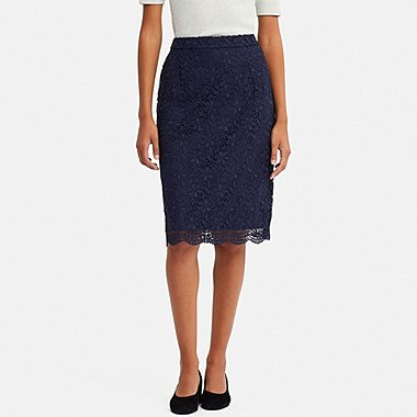 WOMEN LACE SKIRT, NAVY, medium