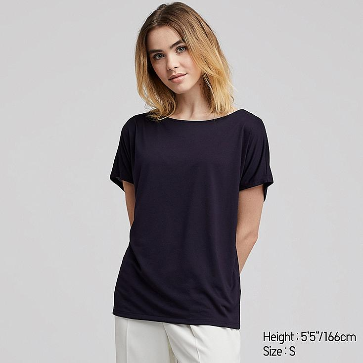 WOMEN DRAPE CREW NECK SHORT-SLEEVE T-SHIRT, NAVY, large