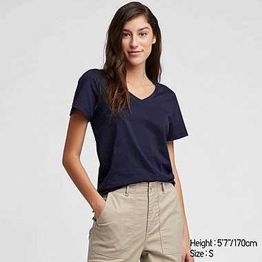 76b018ba90c WOMEN SUPIMA COTTON V NECK SHORT SLEEVED T-SHIRT
