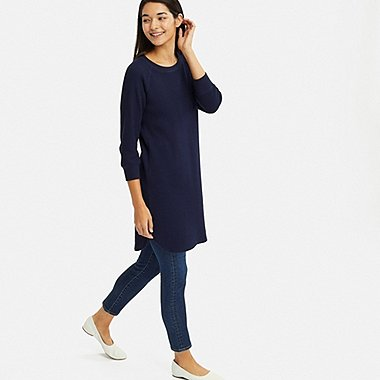 WOMEN WAFFLE CREW NECK 3/4 SLEEVE DRESS, NAVY, medium