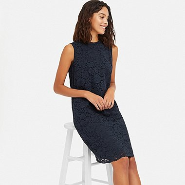 WOMEN LACE DRESS, NAVY, medium