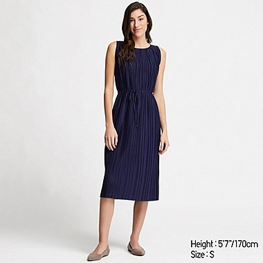 WOMEN PLEATED DRESS, NAVY, medium