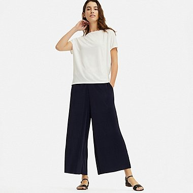 WOMEN PLEATED PANTS, NAVY, medium