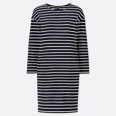 WOMEN STRIPED LONG-SLEEVE DRESS, NAVY, medium
