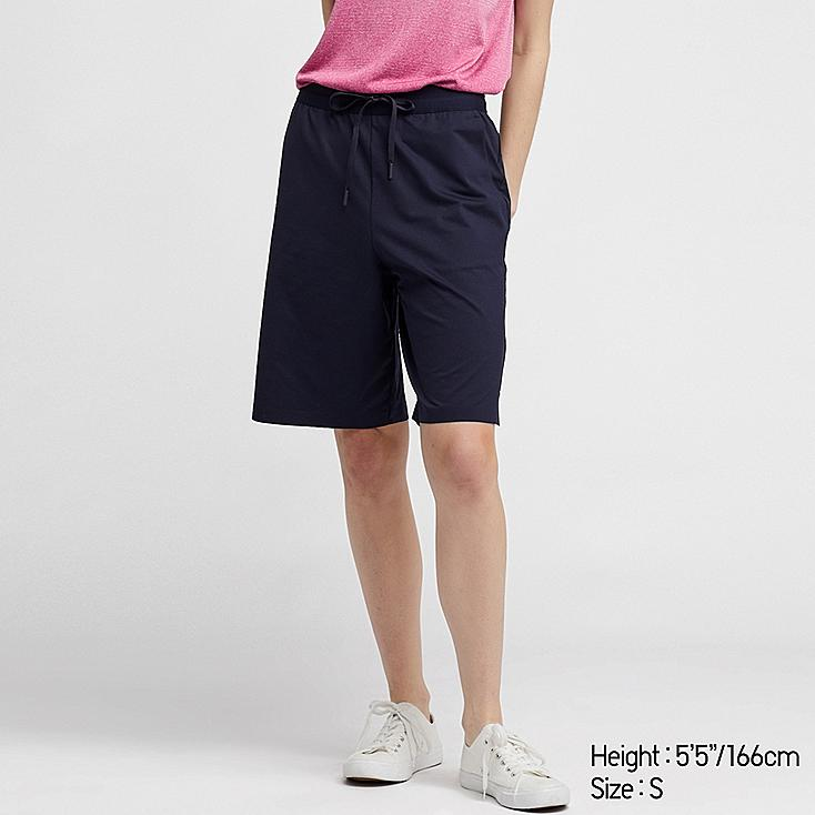 WOMEN ULTRA STRETCH ACTIVE KNEE-LENGTH SHORTS (ONLINE EXCLUSIVE), NAVY, large