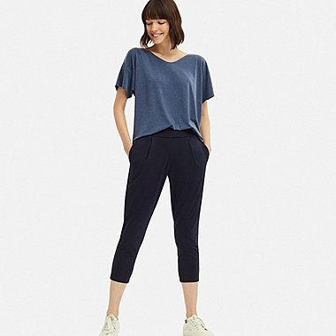 WOMEN AIRism YOGA TAPERED PANTS, NAVY, medium