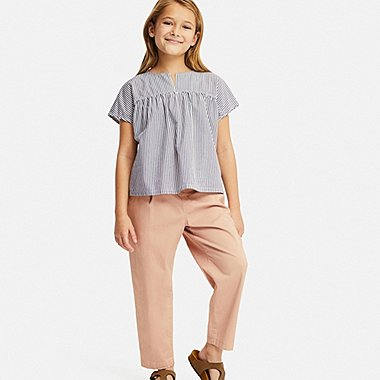 GIRLS STRIPED SHORT-SLEEVE BLOUSE, NAVY, medium