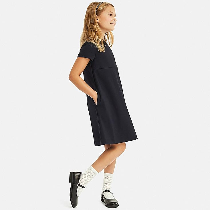 GIRLS CREW NECK SHORT-SLEEVE DRESS, NAVY, large