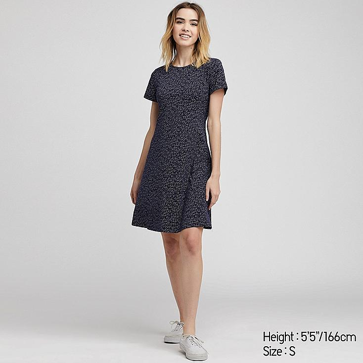WOMEN PRINTED A-LINE SHORT-SLEEVE MINI BRA DRESS, NAVY, large