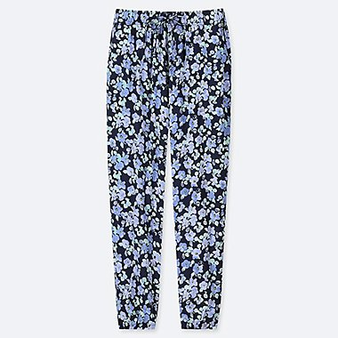 WOMEN DRAPE FLORAL JOGGER PANTS, NAVY, medium