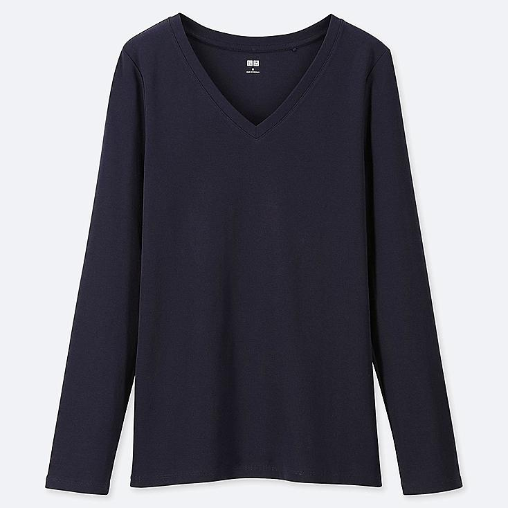 WOMEN 1*1 RIBBED COTTON V-NECK LONG-SLEEVE T-SHIRT, NAVY, large