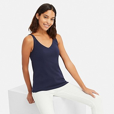 WOMEN WIDE-RIBBED BRA SLEEVELESS TOP, NAVY, medium