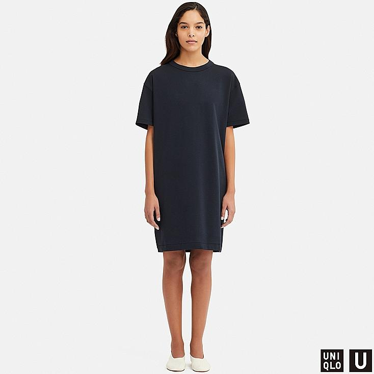 WOMEN U CREW NECK SHORT-SLEEVE DRESS, NAVY, large