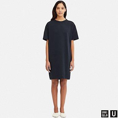 WOMEN U CREW NECK SHORT-SLEEVE DRESS, NAVY, medium