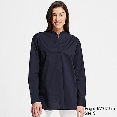 WOMEN EXTRA FINE COTTON STAND COLLAR LONG-SLEEVE SHIRT, NAVY, medium