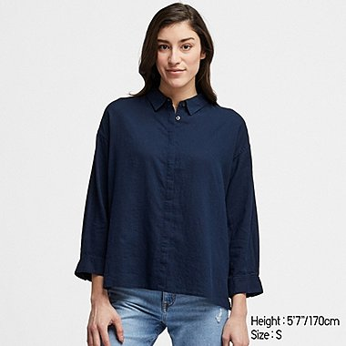 WOMEN LINEN BLEND 3/4 SLEEVED SHIRT