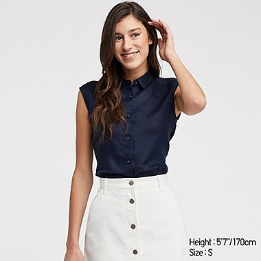 244081029dc48 WOMEN PREMIUM LINEN SLEEVELESS SHIRT TOP