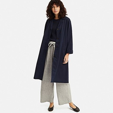 WOMEN LINEN BLEND COAT, NAVY, medium