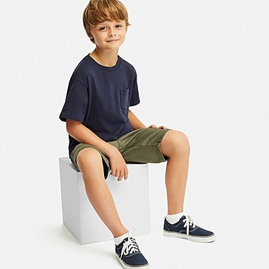 KIDS WASHED CREWNECK SHORT-SLEEVE T-SHIRT, NAVY, medium
