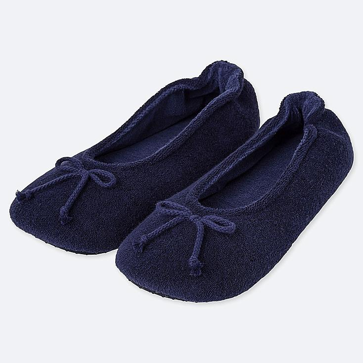 WOMEN PILE BALLET SLIPPERS, NAVY, large