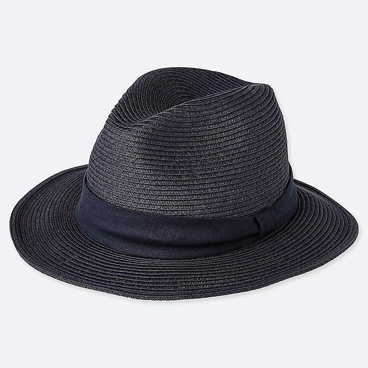 WOMEN ADJUSTABLE FEDORA HAT, NAVY, large