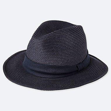 WOMEN ADJUSTABLE FEDORA HAT, NAVY, medium