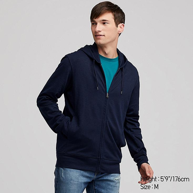 MEN AIRism UV CUT LONG-SLEEVE FULL-ZIP HOODIE, NAVY, large