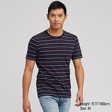 MEN SUPIMA COTTON STRIPED SHORT SLEEVED T-SHIRT