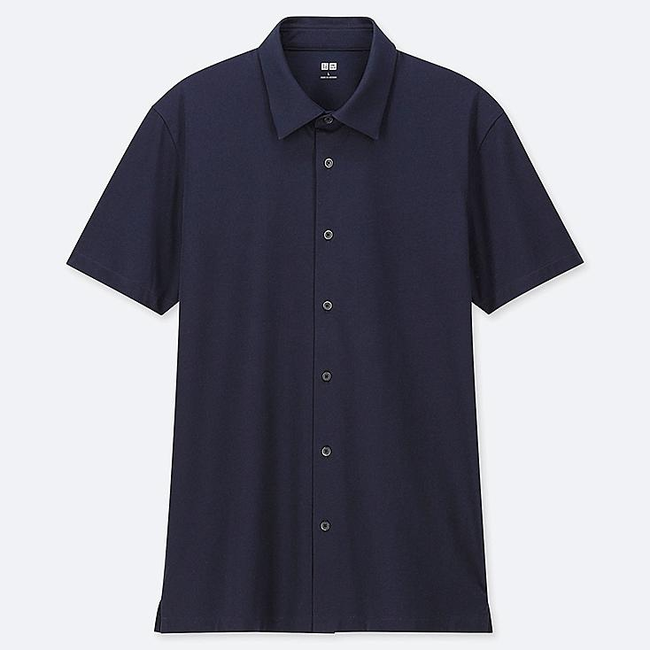 MEN AIRism JERSEY FULL-OPEN POLO SHIRT, NAVY, large