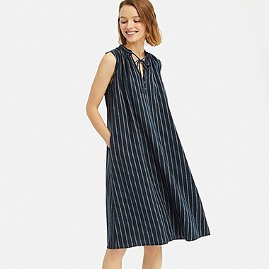 WOMEN LINEN BLEND SLEEVELESS DRESS, NAVY, medium