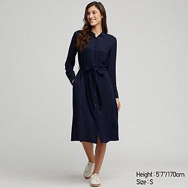 WOMEN RAYON LONG SLEEVED SHIRT DRESS