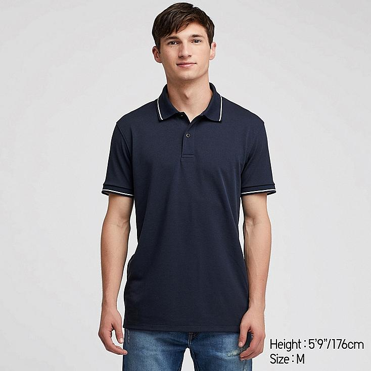 MEN DRY-EX PIQUE SHORT-SLEEVE POLO SHIRT, NAVY, large
