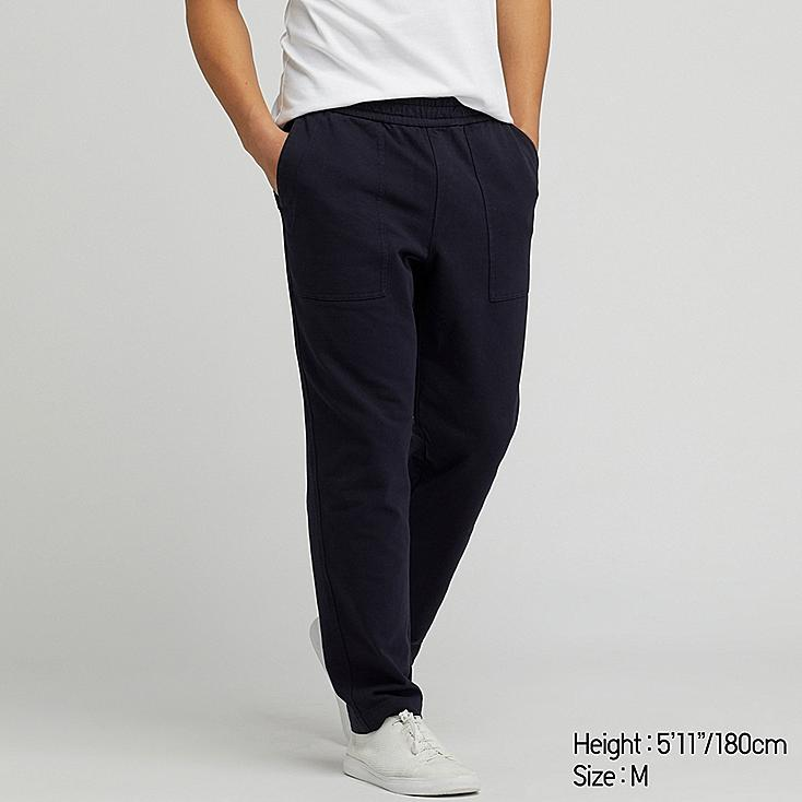 MEN WASHED JERSEY ANKLE-LENGTH PANTS, NAVY, large