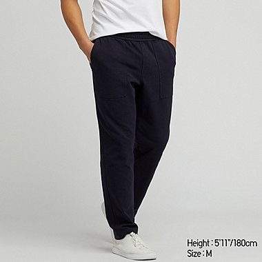 MEN WASHED JERSEY ANKLE-LENGTH PANTS, NAVY, medium