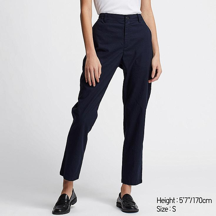 WOMEN LINEN COTTON TAPERED PANTS, NAVY, large