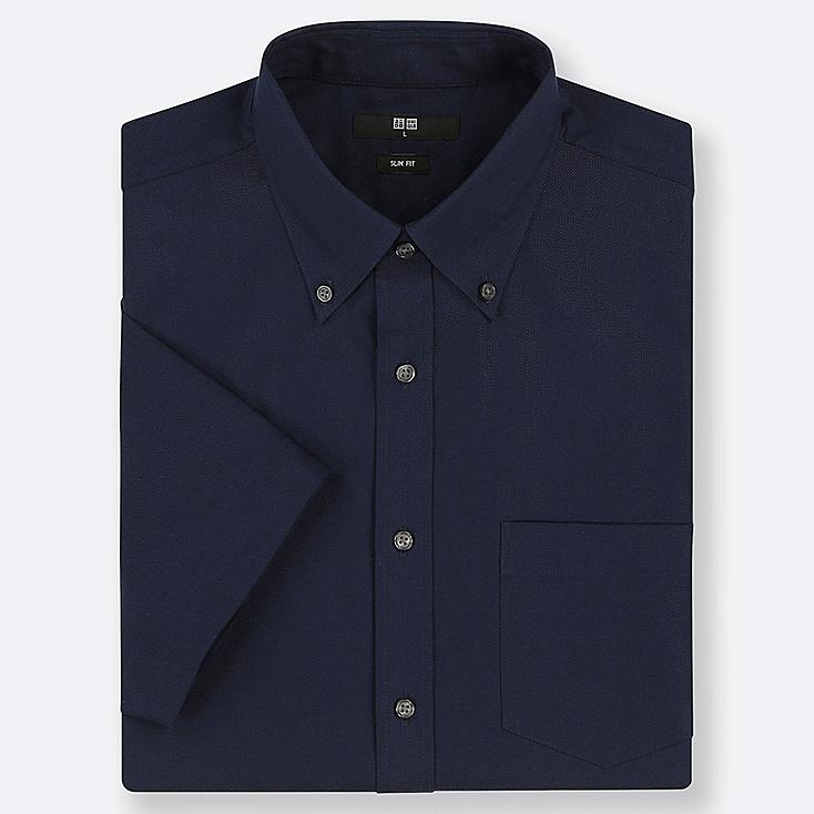 MEN DRY EASY CARE SLIM-FIT SHORT-SLEEVE SHIRT (ONLINE EXCLUSIVE), NAVY, large