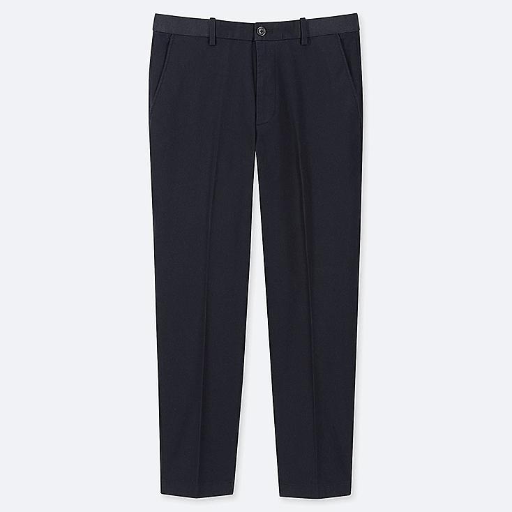 MEN EZY ANKLE-LENGTH PANTS (COTTON), NAVY, large