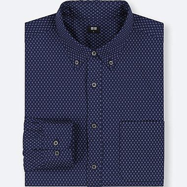 MEN EXTRA FINE COTTON BROADCLOTH LONG-SLEEVE SHIRT, NAVY, medium