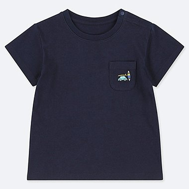 BABIES TODDLER EMBROIDERED POCKET CREW NECK T-SHIRT