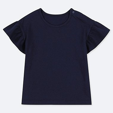 BABIES TODDLER FRILL SLEEVED CREW NECK T-SHIRT