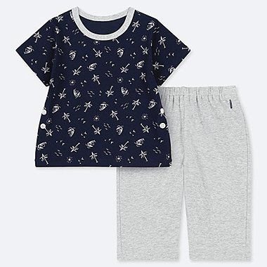 BABIES TODDLER DRY BEACH PRINT SHORT SLEEVED PYJAMAS