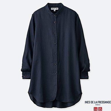 WOMEN LINEN LONG-SLEEVE TUNIC (INES DE LA FRESSANGE), NAVY, medium