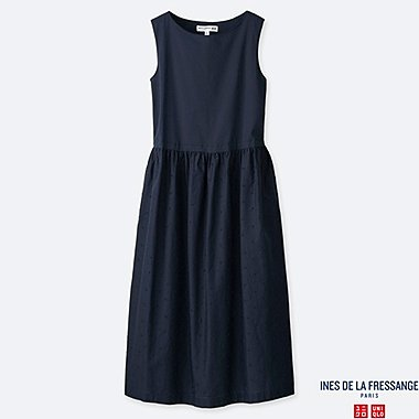 WOMEN EMBROIDERY SLEEVELESS DRESS (INES DE LA FRESSANGE), NAVY, medium