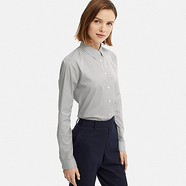 WOMEN SUPIMA® COTTON STRETCH STRIPED LONG-SLEEVE SHIRT, NAVY, medium