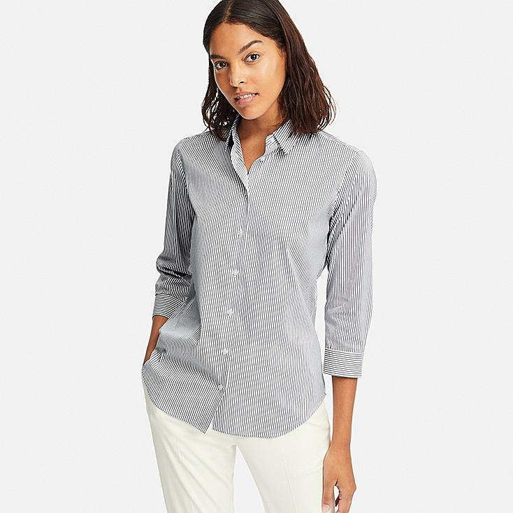 WOMEN SUPIMA® COTTON STRETCH STRIPED 3/4 SLEEVE SHIRT (ONLINE EXCLUSIVE), NAVY, large