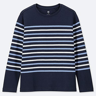 KIDS STRIPED CREW NECK LONG-SLEEVE T-SHIRT, NAVY, medium
