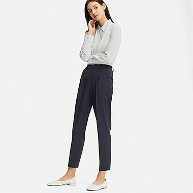 WOMEN EZY TUCKED ANKLE-LENGTH PANTS (STRIPE), NAVY, medium