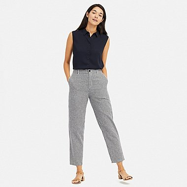 WOMEN LINEN COTTON BLEND TAPERED GINGHAM CHECKED TROUSERS