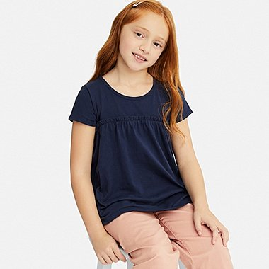 GIRLS GATHERED FRILL CREW NECK SHORT-SLEEVE T-SHIRT, NAVY, medium