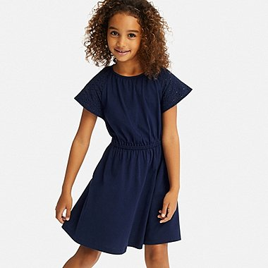 GIRLS LACE SHORT-SLEEVE DRESS, NAVY, medium